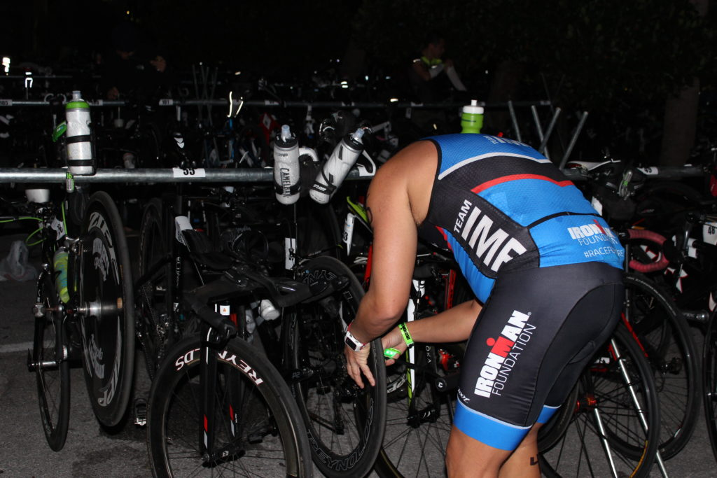 TEAM IMF Athletes getting ready for a big day in transition before the swim