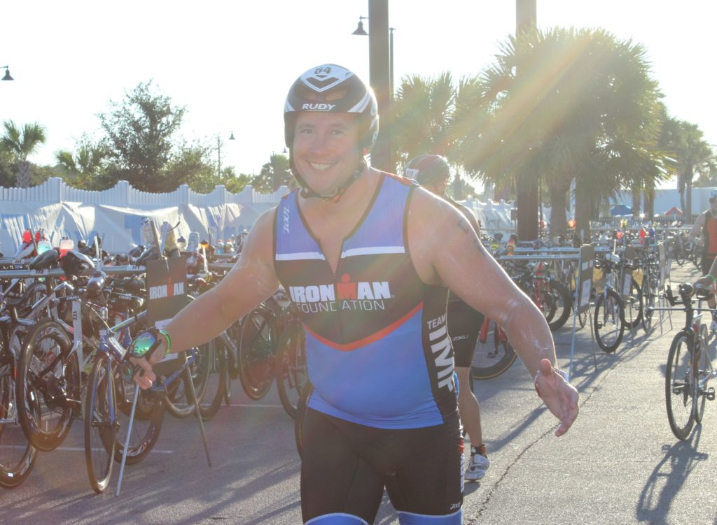 TEAM IMF Athlete, Lorin Cone, looks fresh after a 2.4 mile ocean swim.