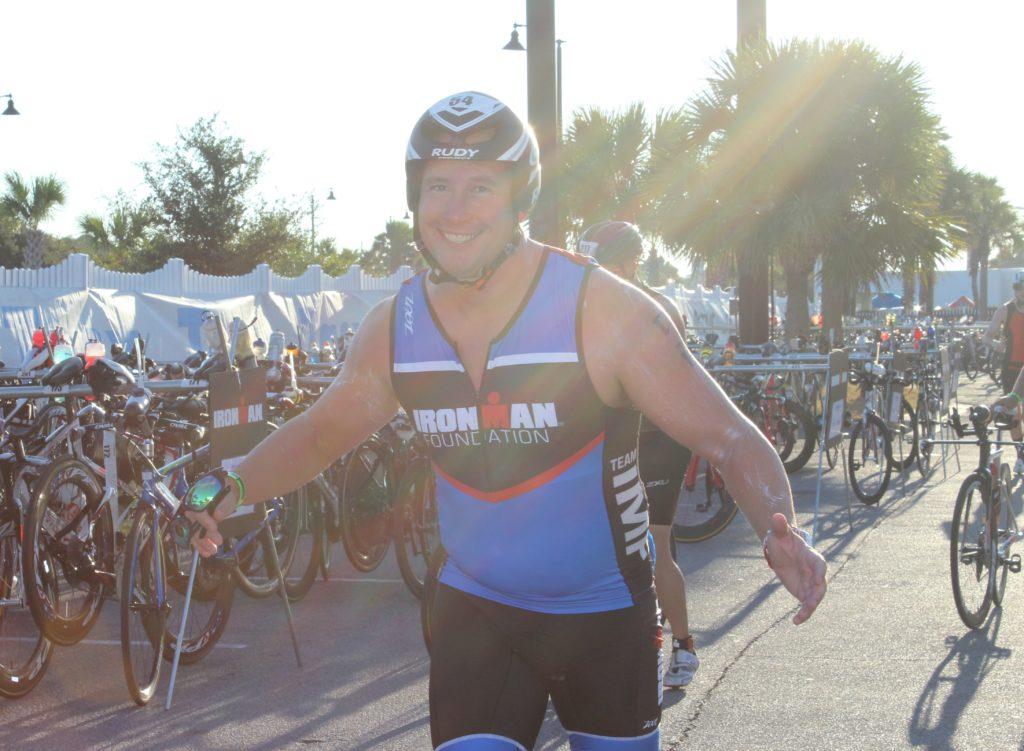 TEAM IMF Athlete, Lorin Cone, looks fresh after a 2.4 mile ocean swim.