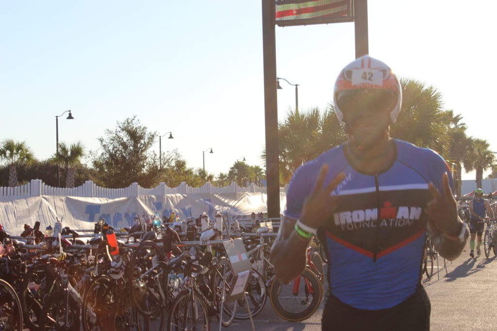 Cedrick is ready to tackle the flat and windy bike course!