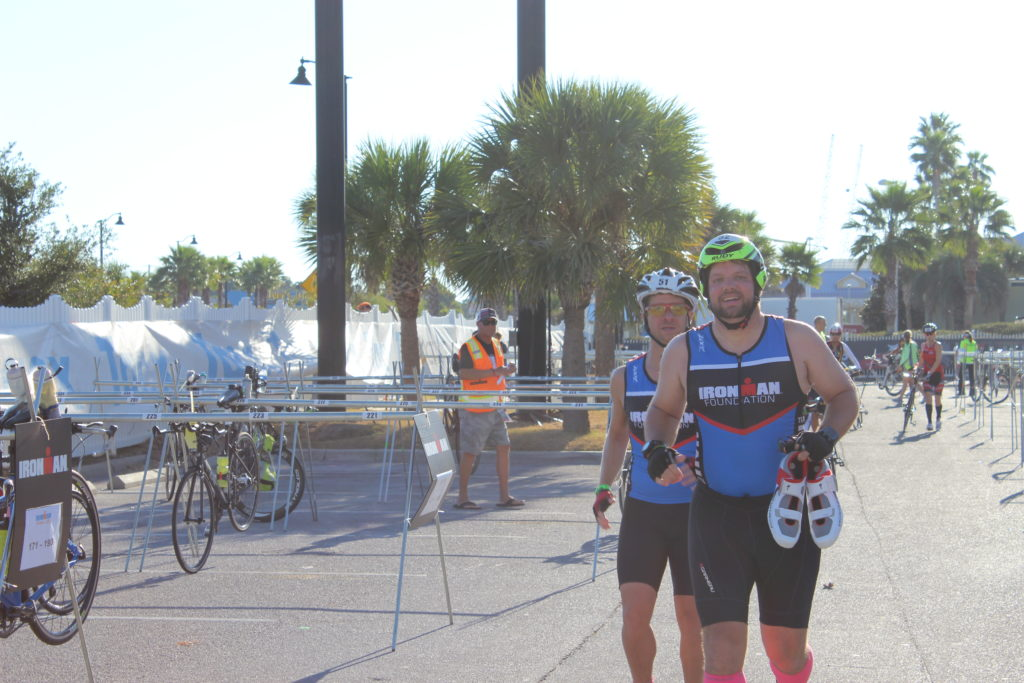 TEAM IMF Athletes, Martin Palomo & Shawn Carter, come out of the swim together!