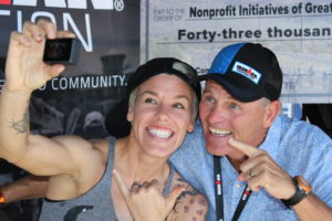 Oh...just IRONMAN World Championship 3rd Place Female, Heather Jackson, and Mike Reilly hanging out at the IMF Tent at IMAZ!
