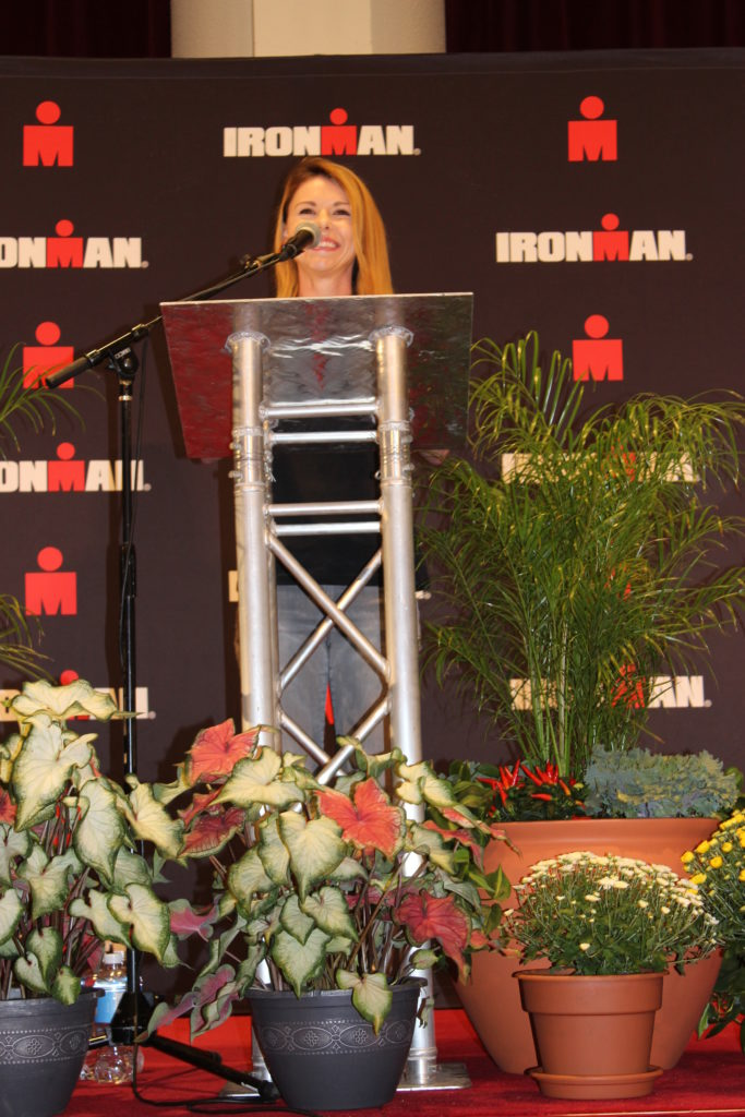 IRONMAN Foundation Manager of Fundraising Programs, Whitney Tizzano, gives a great speech at the IMWI Welcome Banquet! If you were not there, you missed out. There were pictures of dogs involved!