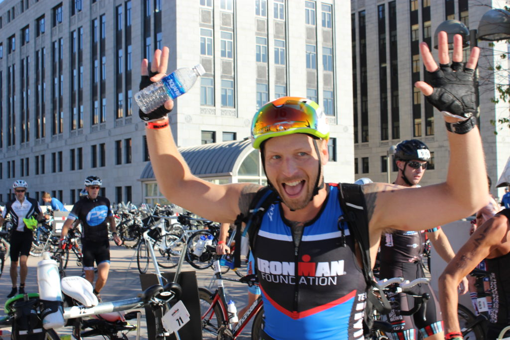TEAM IMF athlete, Chad Erhart, is pumped to get on the bike!