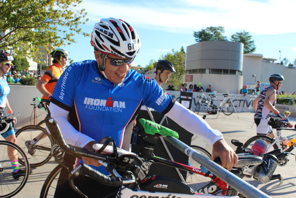 TEAM IMF Ambassador, Carlos Cuellar, has a smile on his face as he takes on yet another IRONMAN.