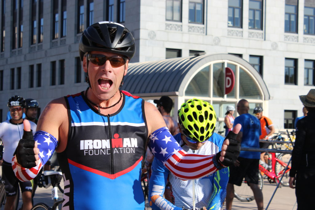 TEAM IMF athlete, Joe Brooks, wears his American Flag sleeves in honor of the 15th anniversary of 9/11.