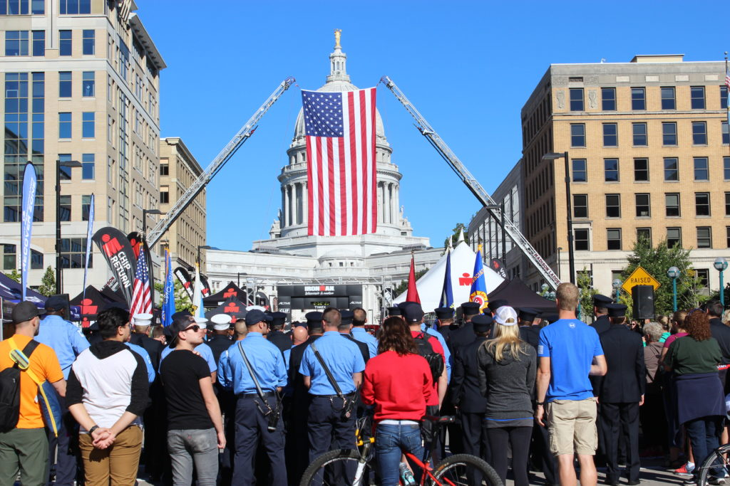 The City of Madison holds a beautiful ceremony at the IRONMAN Wisconsin Finish Line to remember & honor those who lost their lives on 9/11.
