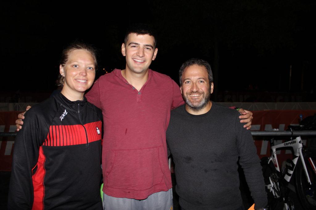 TEAM IMF Athletes: Erica Maynard-Uliasz, Joshua Case, and Nader Tabbara, in transition before the swim start- ready to take on their IRONMAN!