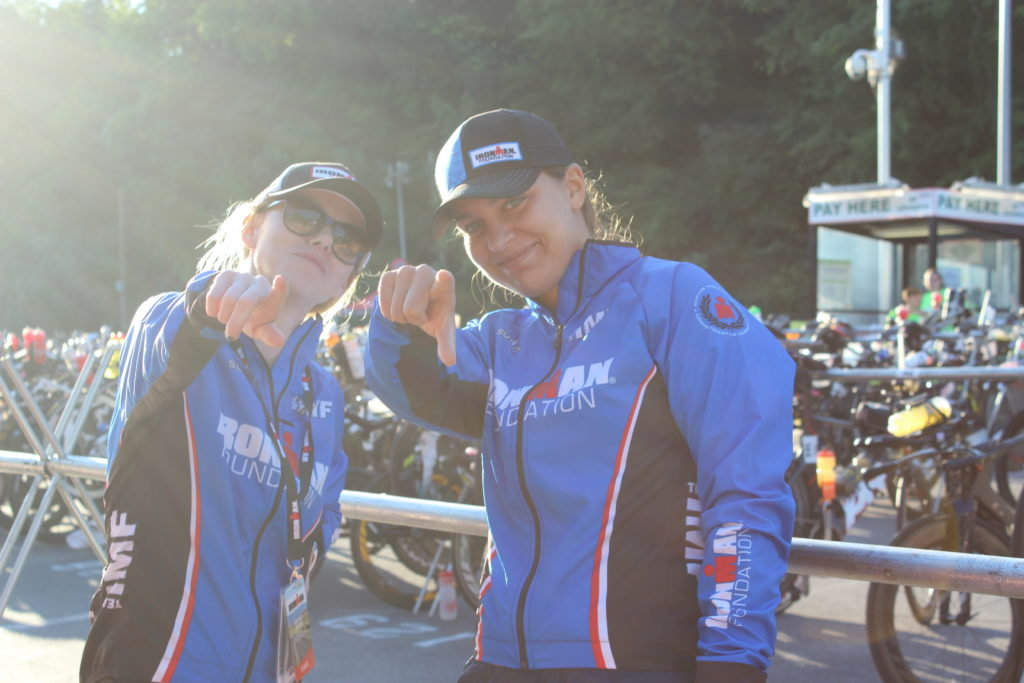 IRONMAN Foundation Staff members, Whitney Tizzano and Julie Bengis, showing their IRONMAN spirit.