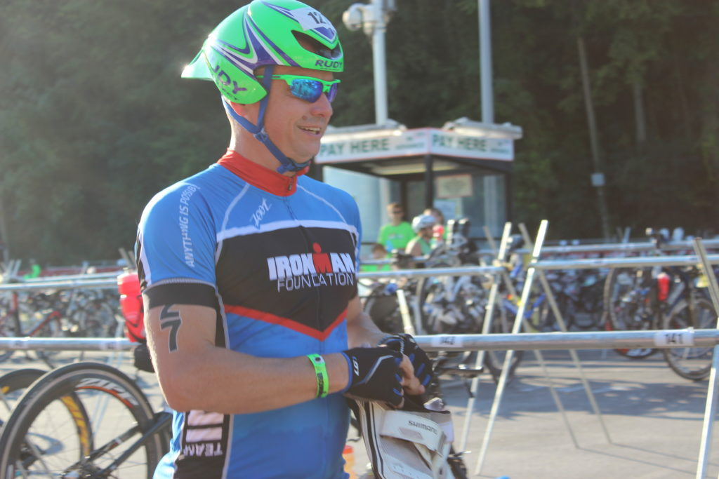 TEAM IMF Athlete, Thomas Walls, if out of the swim and onto the bike!