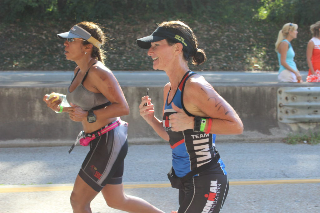 TEAM IMF Athlete, Mistie Morgan, is all smiles during her FIRST IRONMAN!