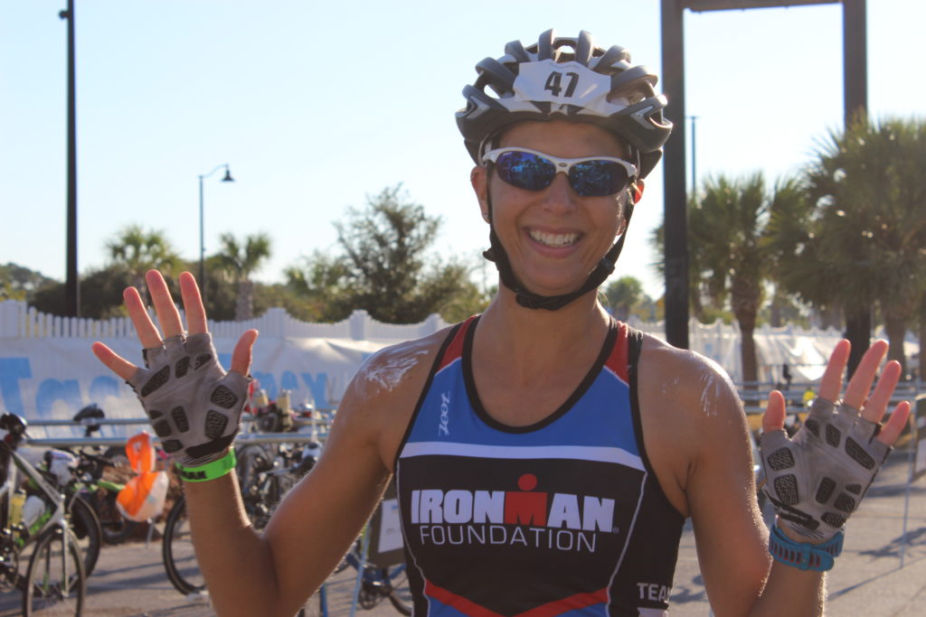 TEAM IMF Athlete, Jackie Mobley, is all smiles after a great swim.