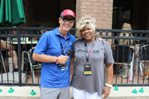 "Mike Reilly ""The Voice Of IRONMAN"" and Ms. Angela got to meet on race day."