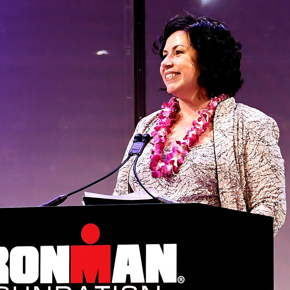 NEW YORK, NY - NOVEMBER 12: Sarah Hartmann welcomes guests to the IRONMAN World Championship Broadcast Premiere at the TimesCenter on November 12, 2018 in New York City. (Photo by Sarah Stier/Getty Images)